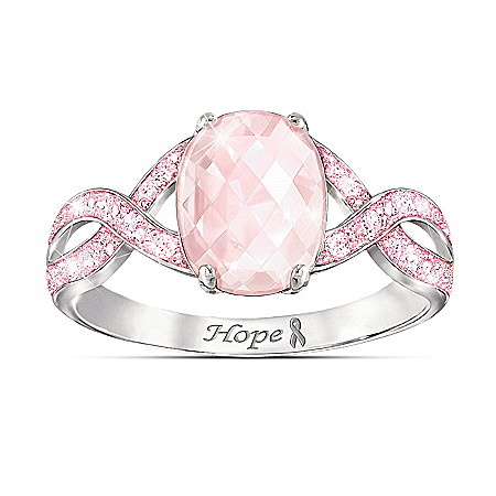 Dazzling Hope Rose Quartz And Pink Simulated Diamond Ring