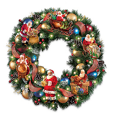 Santa's Busy Season Illuminated Christmas Wreath