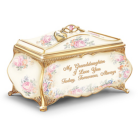 My Granddaughter, I Love You Personalized Heirloom Porcelain Music Box