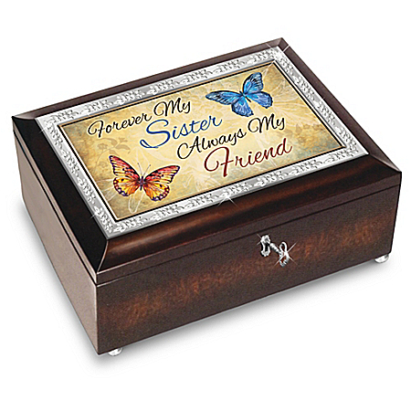 Forever My Sister, Always My Friend Butterfly Music Box