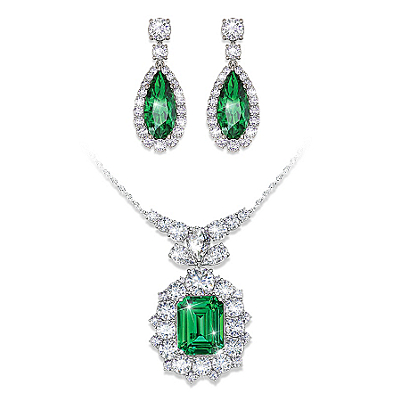 Hollywood Romance Diamonesk Simulated Emerald And Diamonds Necklace & Earrings Set