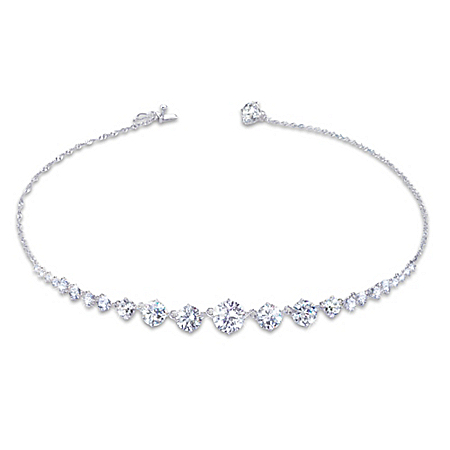 Royal Cascade Sterling Silver Diamonesk Necklace