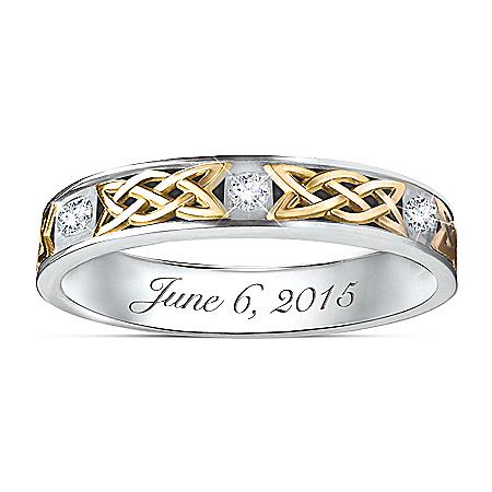Irish Trinity Knot Personalized Men's Wedding Ring