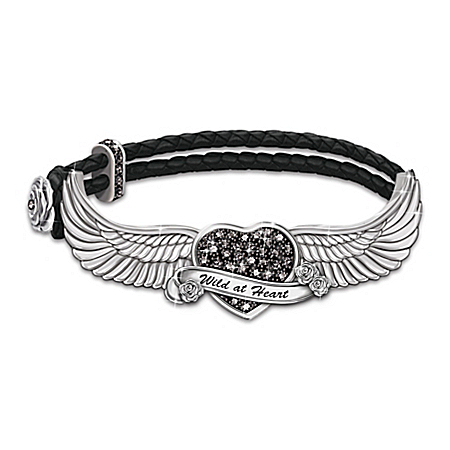 Free As The Wind Swarovski Crystal Heart Leather Bracelet