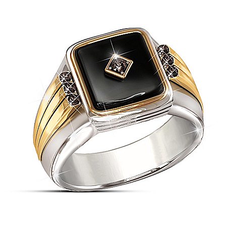 Black Label Onyx And Sapphire Stainless Steel Ring