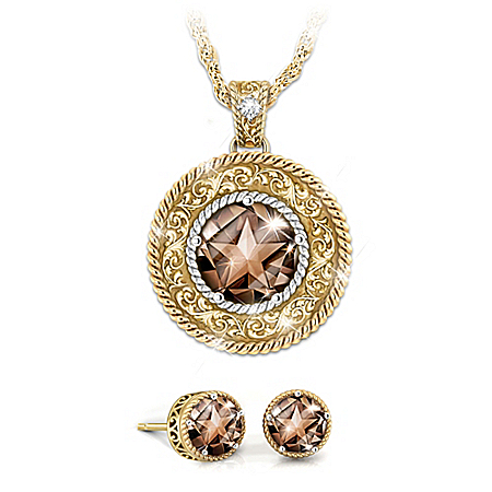 Country Star Smoky Quartz And Diamond Pendant And Earrings