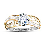 kathy ireland Forever Our Love Personalized 18K Gold-Plated White Topaz Ring