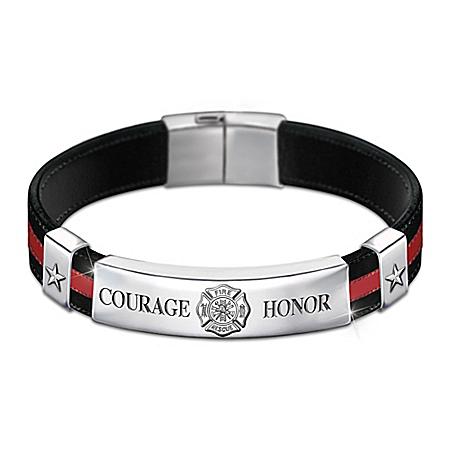 In The Line Of Duty Firefighter Men's Leather Bracelet