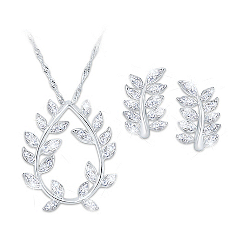 Bob Mackie Women's Diamonesk Simulated Diamond Pendant Necklace and Earrings Set