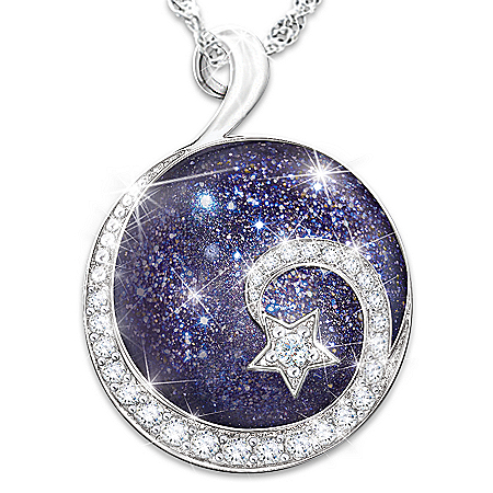 Daughter Reach For The Stars Sterling Silver Cabochon Stone Pendant Necklace