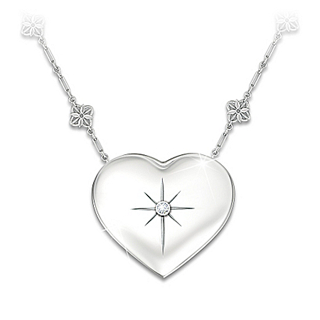 Mom's Message Of Faith Diamond Pendant Sterling Silver Necklace