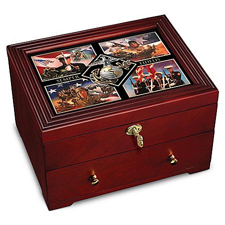 Always Faithful: USMC Wooden Keepsake Box