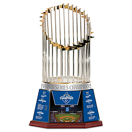 2015 World Series Royals Commemorative Trophy With Postseason Stats