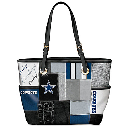 For The Love Of The Game NFL Dallas Cowboys Patchwork Tote Bag