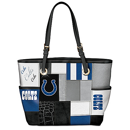 For The Love Of The Game NFL Indianapolis Colts Patchwork Tote Bag