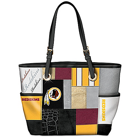 For The Love Of The Game NFL Washington Redskins Patchwork Tote Bag