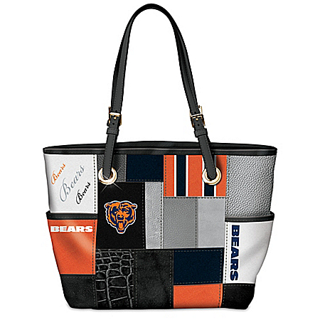 For The Love Of The Game NFL Chicago Bears Patchwork Tote Bag