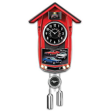 Classic Ford Mustang Cuckoo Clock With Lights And Sound