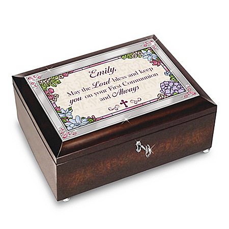 Blessed First Communion Personalized Brown Music Box