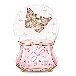 Hope Faux Gem Butterfly Glitter Globe