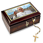 Pope Francis Music Box And Golden Rosary