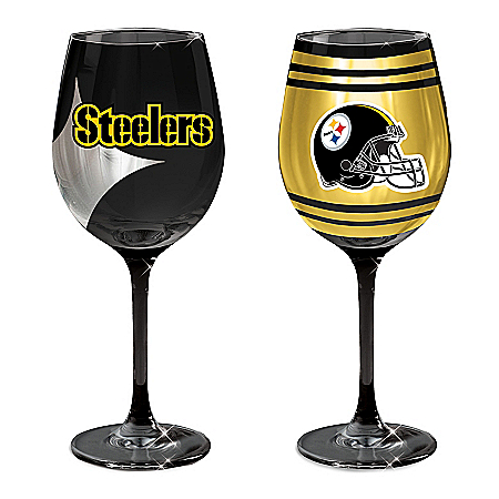 Pittsburgh Steelers Set of 2 Wine Glasses with Team Logos: The Bradford Exchange