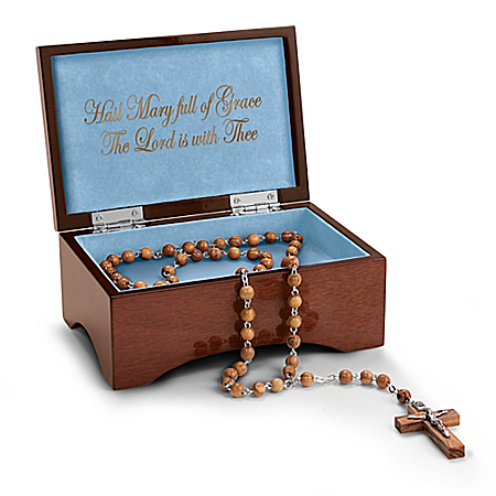 Our Lady Of Lourdes Hand-Carved Olive Wood Branch Holy Land Rosary Keepsake Box