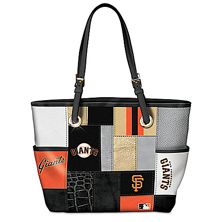 San Francisco Giants MLB Patchwork Tote Bag With Team Logos
