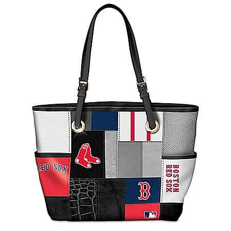 Boston Red Sox MLB Patchwork Tote Bag With Team Logos