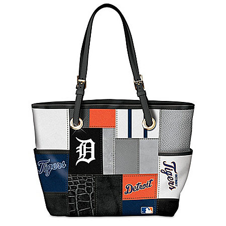 Detroit Tigers MLB Patchwork Tote Bag With Team Logos
