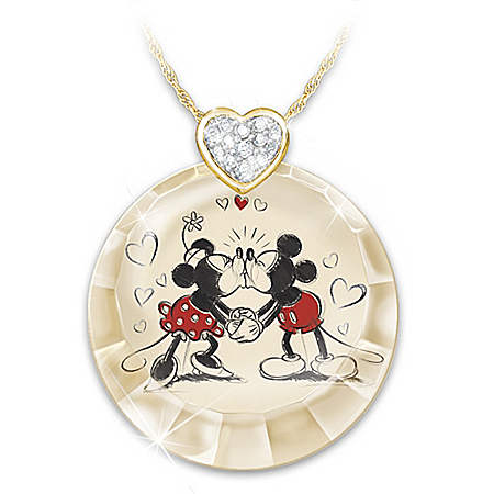 Disney Mickey Mouse And Minnie Mouse Timeless Love Crystal Pendant Necklace