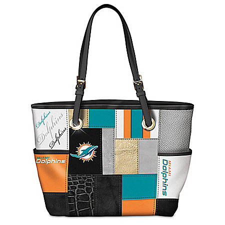 For The Love Of The Game NFL Miami Dolphins Patchwork Tote Bag