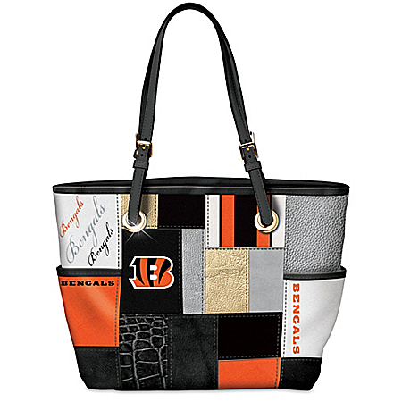 For The Love Of The Game Cincinnati Bengals Patchwork Tote Bag