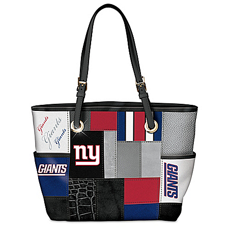 For The Love Of The Game NFL New York Giants Patchwork Tote Bag