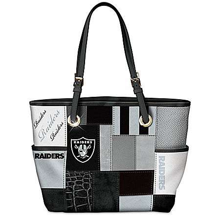 For The Love Of The Game NFL Oakland Raiders Patchwork Tote Bag