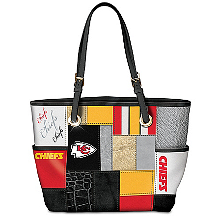 For The Love Of The Game NFL Kansas City Chiefs Patchwork Tote Bag