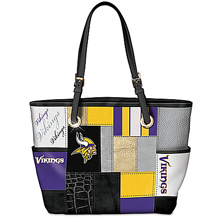 For The Love Of The Game NFL Minnesota Vikings Patchwork Tote Bag