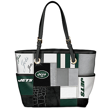 For The Love Of The Game NFL New York Jets Patchwork Tote Bag