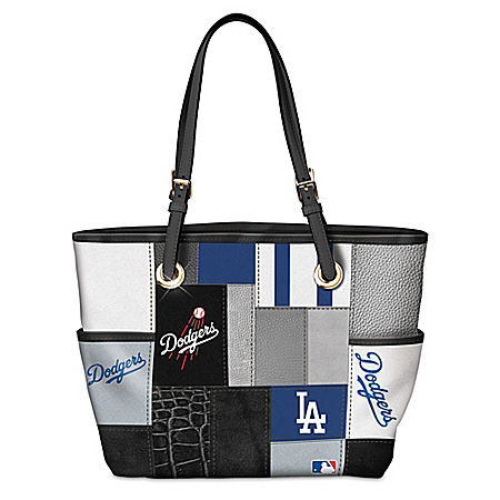 Los Angeles Dodgers MLB Patchwork Tote Bag With Team Logos