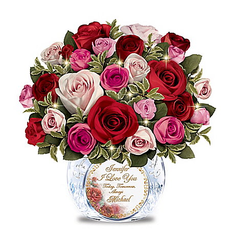 Romantic Handmade Rose Bouquet Personalized with 2 Names: Crystal Vase Lights Up