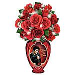 Elvis Presley Love Me Tender Red Valentine Rose Arrangement Table Centerpiece In Crimson Crystal Vase