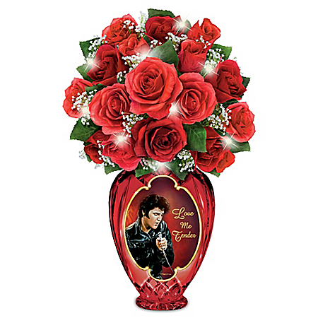 Elvis Presley Handmade Red Valentine Rose Bouquet in Crystal Vase Lights Up