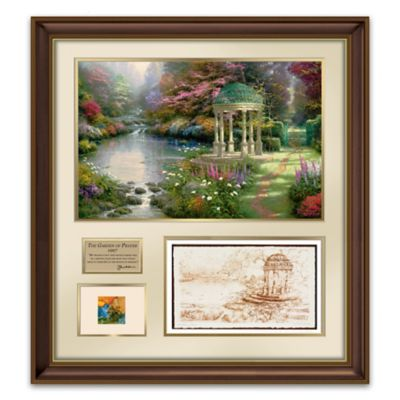 Garden of Prayer Wall Decor with Canvas Print and Thomas Kinkade's Actual Paint