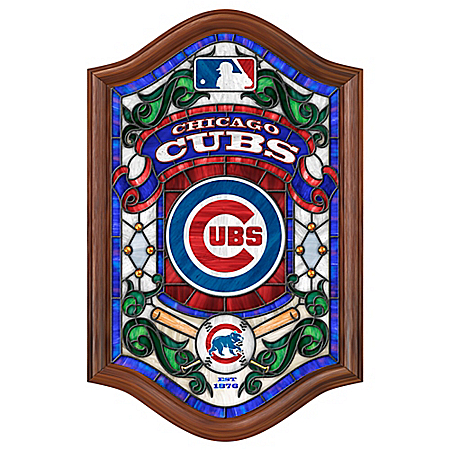 Chicago Cubs illuminated Handcrafted Stained-Glass Wall Decor