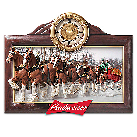 Timeless Tradition Budweiser Clydesdales Wall Clock