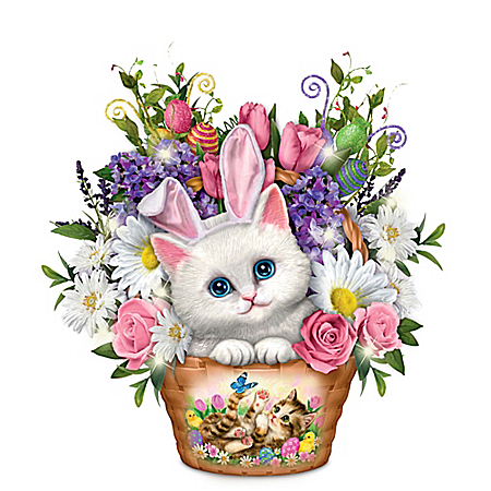 Kayomi Harai Illuminated Kitten and Floral Centerpiece in Easter-Basket Design