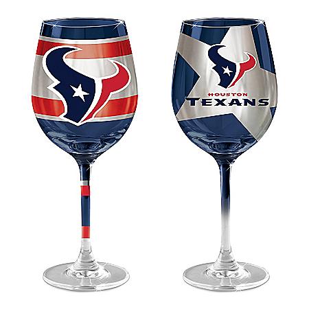 Gridiron Stars NFL Houston Texans Wine Glass Set: Two Stem Wine Glasses