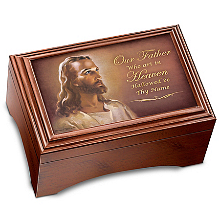 The Lord's Prayer Hand Carved Holy Land Olive Wood Cross & Musical Keepsake Box