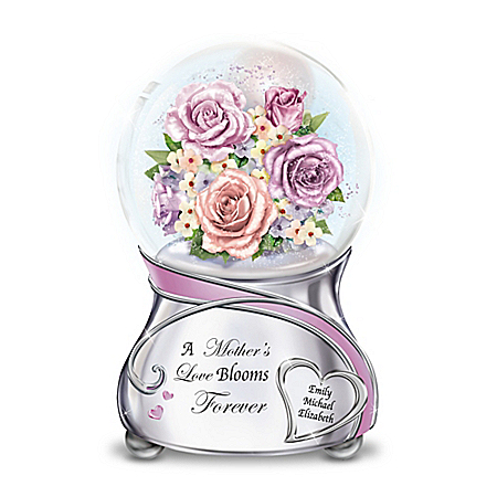 A Mother's Love Blooms Forever Personalized Glitter Globe