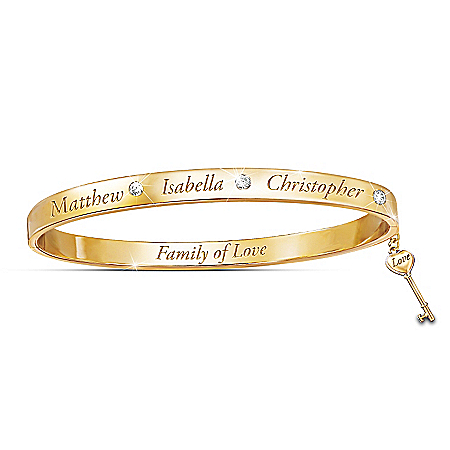 Family Of Love Personalized Topaz 18K Gold-Plated Bracelet